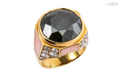 A black diamond, diamond and coral dress ring