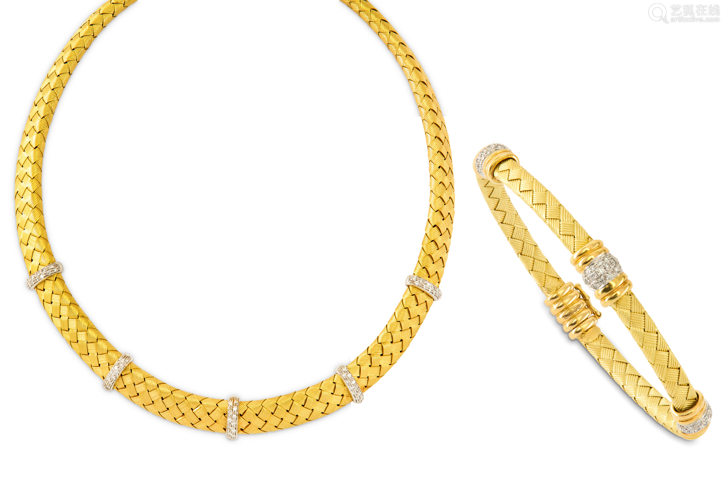 A diamond necklace and bangle suite, retailed by Mappin & Webb, 1998