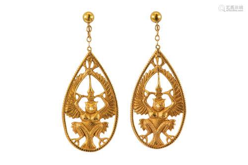 A pair of pendent earrings