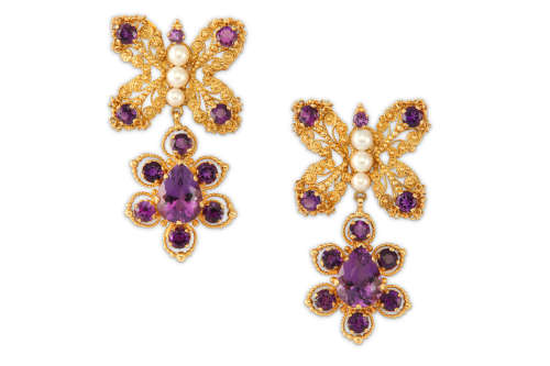 A pair of amethyst and cultured pearl pendent earrings