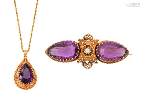An amethyst pendant necklace and brooch
