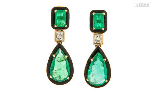 A pair of emerald, diamond and enamel pendent earrings