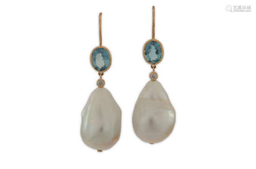 A pair of aquamarine, diamond and cultured pearl earrings