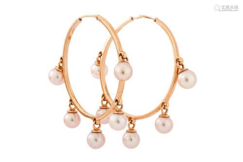 A pair of cultured pearl hoop earrings, by Dior