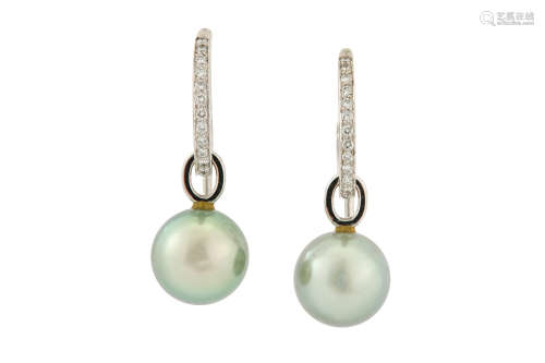 A pair of cultured pearl and diamondearrings, by Boodle & Dunthorne, 2002