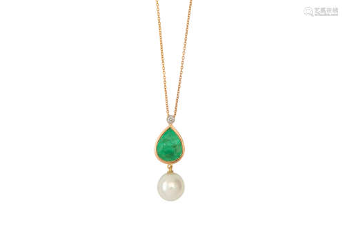 An emerald, diamond and cultured pearl pendant necklace