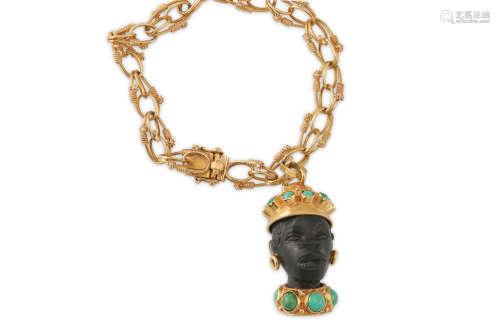 A bracelet with a Blackamoor charm, circa 1955