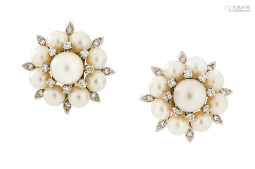 A pair of cultured pearl and diamond earclips, circa 1960