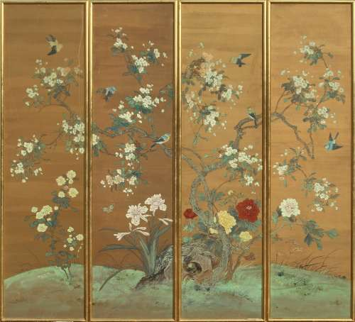 Property of a lady - a set of four Chinese paintings on paper depicting birds among flowers &
