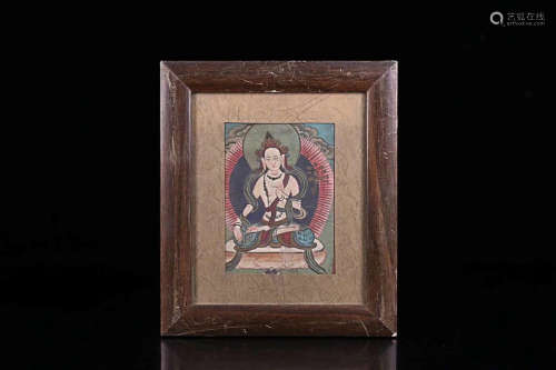 A TIBETAN BUDDHA COLOURED PAINTING