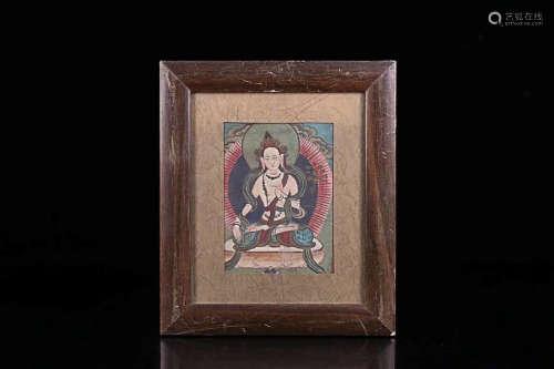 A TIBETAN BUDDHA COLOURED PAINTING