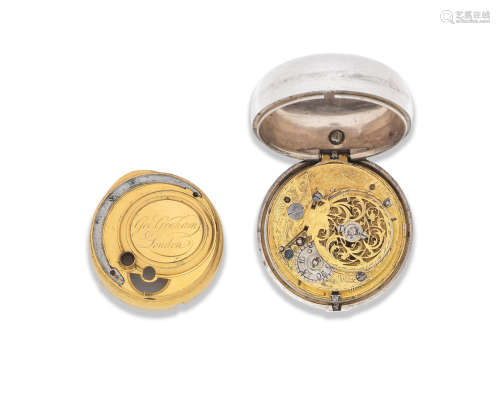 Circa 1740, later case with London Hallmark for 1775  George Graham, London. A later cased silver key wind open face pair case pocket watch