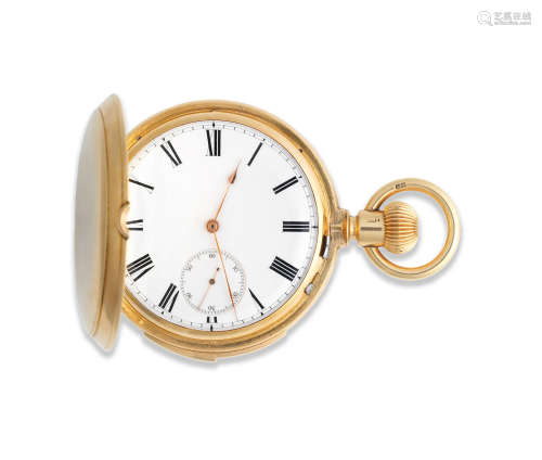 London Hallmark for 1880  An 18K gold keyless wind full hunter minute repeating pocket watch