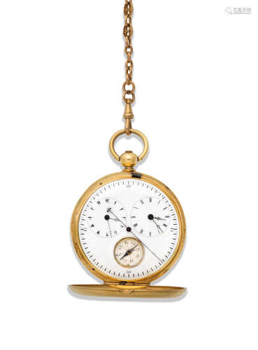 Circa 1820  Siegrist & Cie, Chaux de Fonds. A continental gold key wind full hunter pocket watch with dual time zone and compass