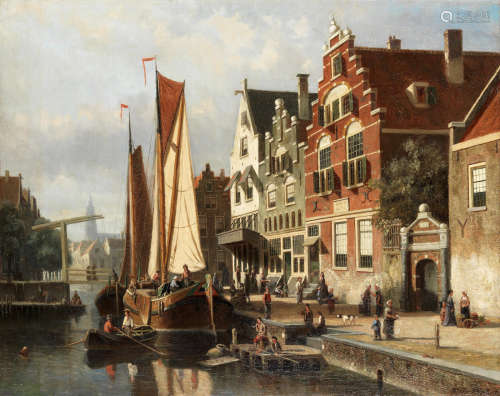 Dutch canal scene with barge unloading Willem Koekkoek(Dutch, 1839-1895)