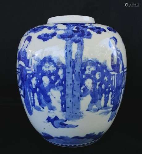 A LARGE CHINESE QING KANG XI BLUE AND WHITE JAR