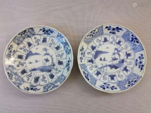 TWO CHINESE 18TH C. BLUE AND WHITE PLATES