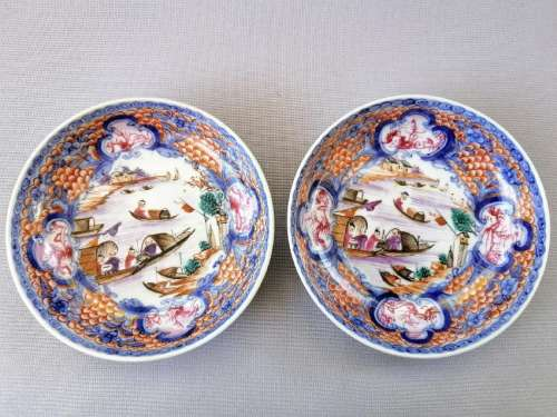 PAIR OF CHINESE 18TH C. EXPORT ROSE FAMILLE DISHES