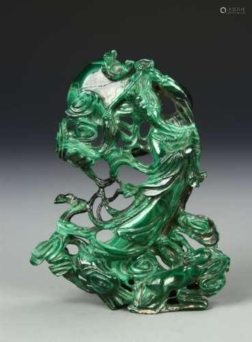 Chinese Malachite Carved Lady Figure