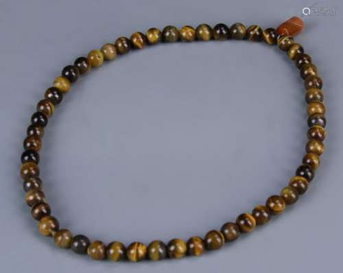 Chinese Tiger-Eye Stone Necklace