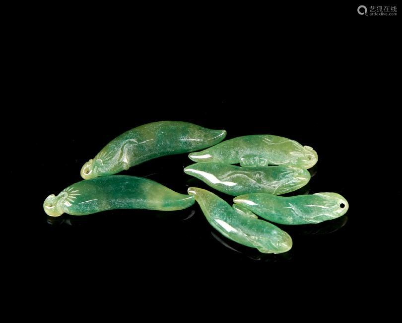 Green Jadeite Chili Pendants (6 pc.)