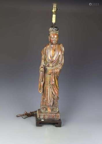 Chinese Wood Guanyin Lamp