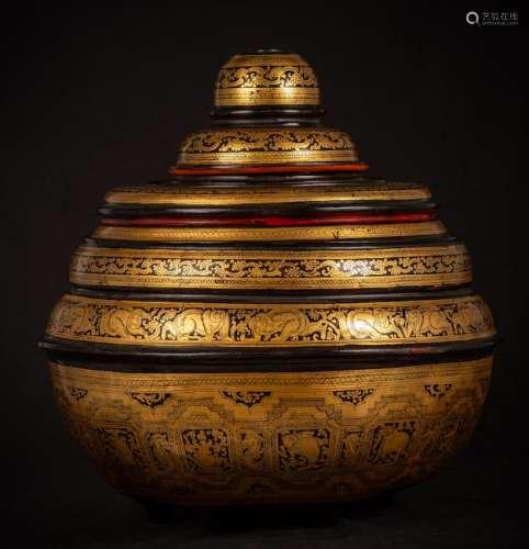 19th Century Burmese Lacquerware Offering Vessel