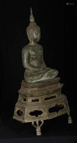 19th Century Thai Sukhothai Meditation Buddha on