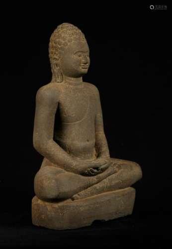 18th Century Seated Stone Dvaravati Style Thai Buddha