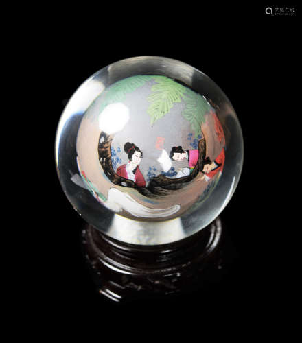 A Chinese Dual Layer Glass Ball with Painting