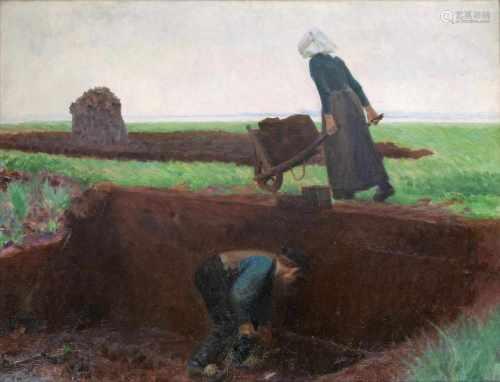 Julius von Ehren(Altona 1864 - Hamburg 1944)Torfstecher1903, Öl/Lw., 100 x 130 cm, r. u. sign. v.