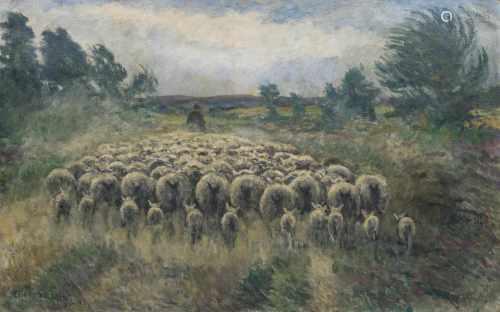 Friedrich Schaper(Braunschweig 1869 - Hamburg 1956)SchafherdeÖl/Lw., 90 x 140 cm, l. u. sign. und