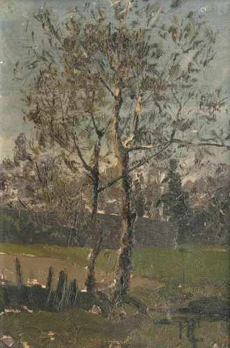 Hans Peter Feddersen(Westerschnatebüll 1848 - Kleiseerkoog 1941)BirkenUm 1872, Öl/Papier/Karton,