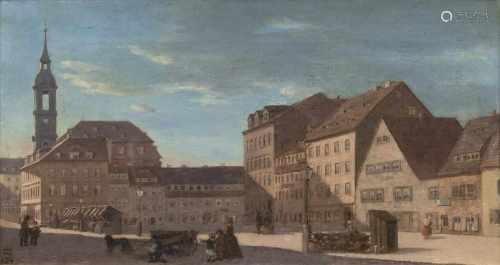 Monogrammist HDtätig Mitte 19. Jh.Alt-Hamburg mit MichelÖl/Lw., 25,5 x 46,5 cm, l. u. monogr. und