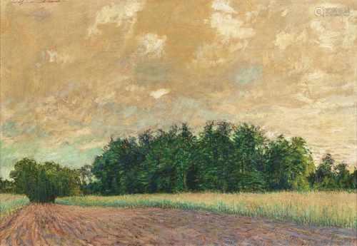 Arthur Illies(Hamburg 1870 - Lüneburg 1952)Feld und WaldrandÖl/Karton, 48,5 x 66,5 cm, l. o. sign.