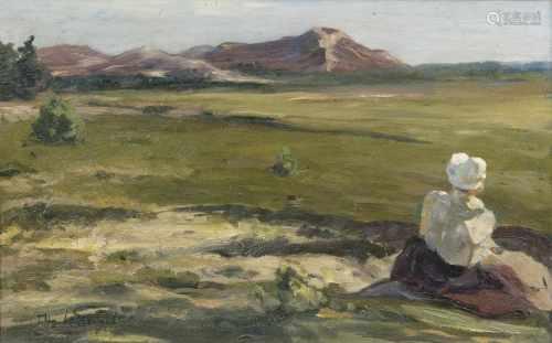Otto Heinrich Engel(Erbach/Odenwald 1866 - Glücksburg 1949)Friesin in den DünenÖl/Karton, 33 x 49