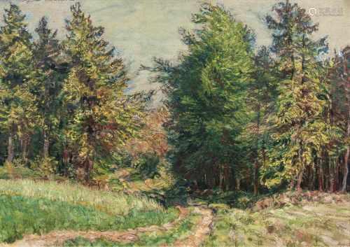 Arthur Illies(Hamburg 1870 - Lüneburg 1952)WaldwegÖl/Karton, 48,5 x 66,5 cm, l. o. sign. Arthur