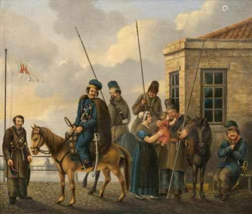 Christoffer Suhr(Hamburg 1771 - Hamburg 1842)Kosaken in HamburgÖl/Lw., 36,5 x 42 cm, auf dem