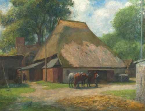 Arthur Siebelist(Loschwitz/Dresden 1870 - Hittfeld/Hamburg 1945)Auf dem BauernhofÖl/Holz, 57 x 72,