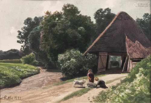 Valentin Ruths(Hamburg 1825 - Hamburg 1905)Norddeutsche LandschaftenVier Aquarelle, 13 bis 21,5 x