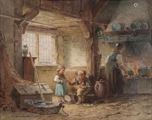 Martin Gensler(Hamburg 1811 - Hamburg 1881)In einer Blankeneser KücheAquarell, 24,5 x 30 cm, l. u.