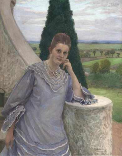 Fritz Mackensen(Braunschweig 1866 - Worpswede 1953)Margarethe Gocht vor dem Barkenhoff in