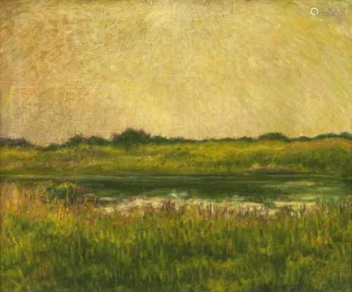 Arthur Illies(Hamburg 1870 - Lüneburg 1952)Sonne über FlusslandschaftÖl/Lw., 60 x 60 cm, verso auf