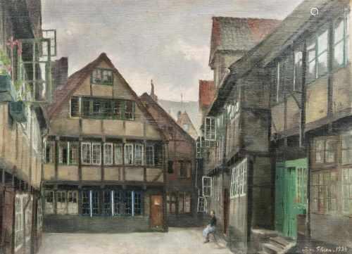 Julius von Ehren(Altona 1864 - Hamburg 1944)Hof in Alt-HamburgÖl/Lw./Holz, 46,5 x 63 cm, r. u.
