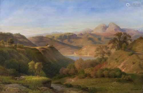 Louis Gurlitt(Altona 1812 - Naundorf 1897)Am Nemisee im AlbanergebirgeÖl/Lw., 41 x 59 cm, r. u.