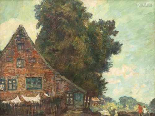 Arthur Illies(Hamburg 1870 - Lüneburg 1952)Dorf unter BäumenÖl/Karton, 36,5 x 46 cm. - Hamburger
