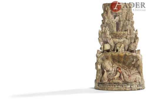 GOA, Travail indo-portugais - XVIIe siècle Groupe en ivoire sculpté à traces de polychromie, Jésus