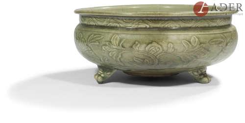 CHINE, Fours de Longquan - Époque MING (1368 - 1644) Brûle-parfum tripode en porcelaine émaillée