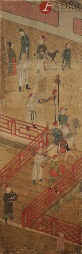CHINE - XVIIIe siècle Ensemble de deux fragments de peintures, encre et couleurs sur soie,