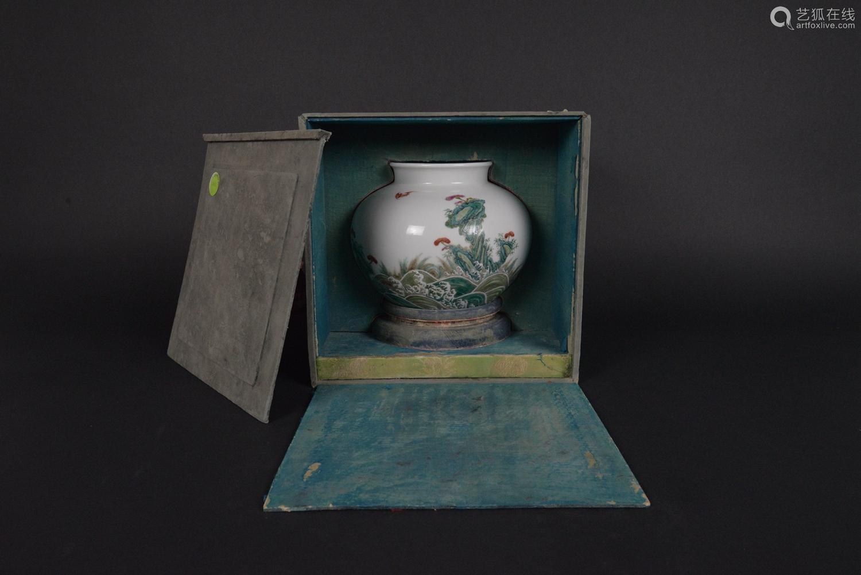 清 粉彩福山寿海罐